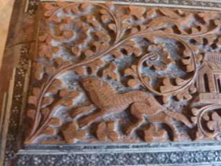 Antique Anglo Indian carved wooden Sadeli trinket box |