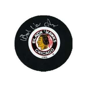 Ed Van Impe Autographed Puck   Chicago Black ):  Sports