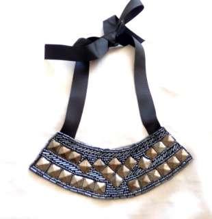 Black Jeweled Beaded Bow Tie Bib Felt Material Necklace