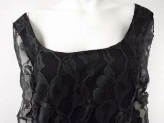 NWT $42 Womens green black lace stretch gathered dress Mystic L