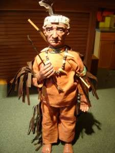 16 1/2 NATIVE AMERICAN INDIAN BRAVE DOLL STATUE FIGURE