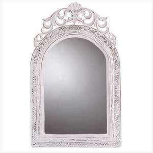 Distressed White Arched Top Shabby Wall Mirror, New