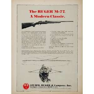 1969 Ad Sturm Ruger Model 77 Bolt Action Rifle Hunting