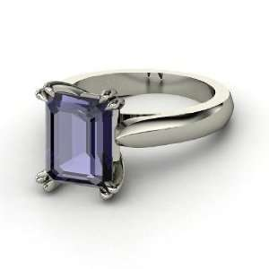 Julianne Ring, Emerald Cut Iolite 14K White Gold Ring