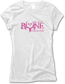 Ladies BONE COLLECTOR LOGOD ~ White & Pink Tee T Shirt