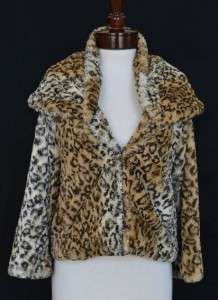 Fur Leopard Jacket M 8 10 NWT Shawl Coat Seen on Ashley Greene