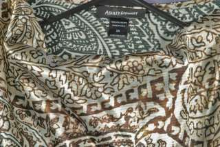 Ashley Stewart Size 2X 18W 20W Beige Brown Black Floral Shirt Top