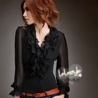 9037E Japan Korea Fashion Women Ladies New Black Ruffle Collar 2 in1