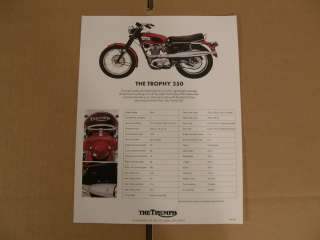 Two sided NOS Triumph Trophy 250 brochure. This came from an old