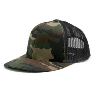 CAMO / BLACK 6 PANEL MESH TRUCKER BASEBALL CAP HAT CAPS