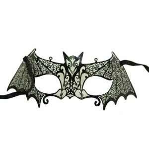 Black Metal Venetian Bat Half Mask
