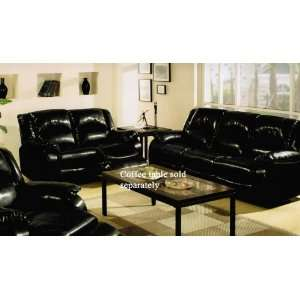 2pc Recliner Sofa Set in Black Bycast Leather