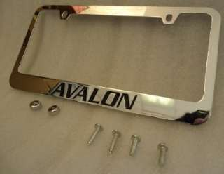 TOYOTA AVALON CHROME & INK METAL LICENSE PLATE FRAME WITH LOGO SCREW