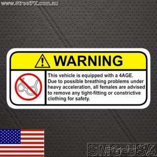 4AGE Warning Sticker decal for TRD aw11 MR2 and ae86