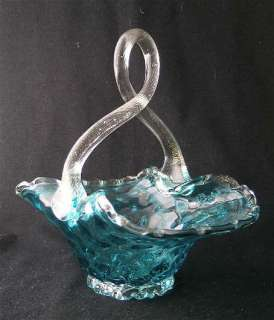 Barovier and Toso Italian art glass blue optic basket