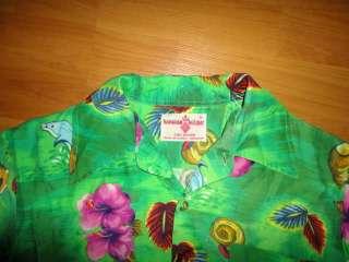 vtg HAWAIIAN HOLIDAY DOLPHINS GREEN FLORAL SHIRT SMALL