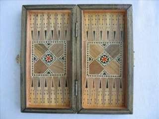 Backgammon Board Game Wood Handmade Craft Mosaic Small