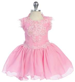 New Baby,Toddler & Little Girl Glitz Pageant Formal Party Dress Pink