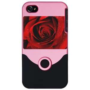 iPhone 4 or 4S Slider Case Pink Red Rose