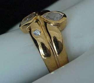 carats Pear Cut & Marquise cut Bezel set GOLD ep Band Ring Sz7
