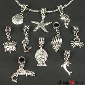 30x mixed Tibetan silver Sea Animal DANGLE Charms Bead