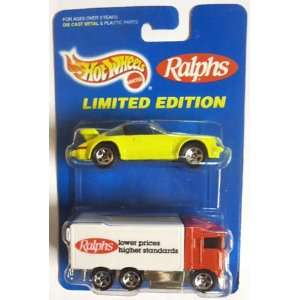 red HIGHWAY HAULER big rig truck w/ neon yellow PORSCHE 911 TARGA