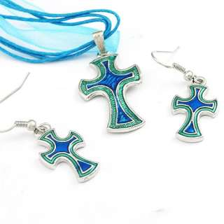 H9864 Blue Cross Style Gemstone Necklace Earrings Set