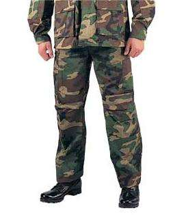 Woodland Camo BDU Pants, Military Fatigues 613902794245