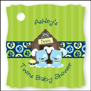 Twin Boy Puppy Dogs   20 Personalized Baby Shower Die Cut