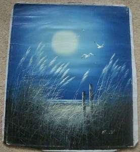 Vintage Art Original Oil Painting Beach night 24 X20