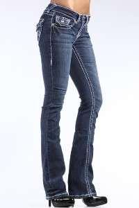 CLASH jeans FLEUR DE LIS crystal 30 THICK WHITE STITCH 9 ~like LA IDOL