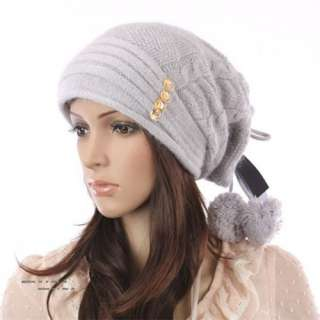 Cool Womens Pattern Winter Wool Cap Snow Warm Beanie Knitted Ball Hat