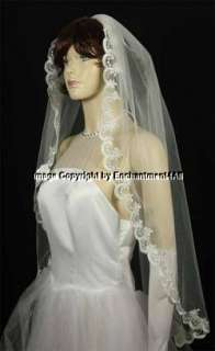 IVORY WEDDING BRIDAL EMBROIDERED LACE VEIL FINGERTIP 51