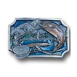Pewter Belt Buckle   Fly Fishing Sports & Outdoors