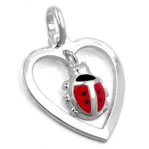 .925 Sterling Silver Lady Bird Heart Pendant DE NO Jewelry
