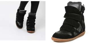 Womens Black High Top Strap Sneakers Shoes US 5~8 / Womans Wedge Ankle