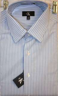 Calvin Kleins Mens Dress Shirt Navy w/Lt. Blue Stipes NWT MSRP $49