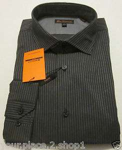 Ben Sherman Mens Textured Gray Stripe Mod Fit (Trim Fit) Dress Shirt $