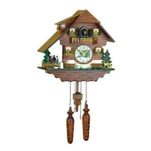 Quartz Cuckoo Clock Black forest house, turning dancers