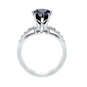 Gold Wedding Band Pear Cut Black Diamond Accent Ring (3.00 ctw) (Black