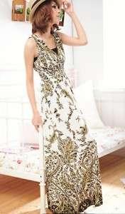 NWT sexy v neck long exotic boho floral silk dress S/M