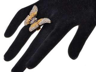 Golden Tone Brown Yellow Enamel Wings Butterfly Crystal Rhinestone