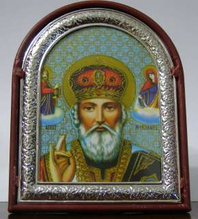 Icon Russian St Nicholas Wonderworker Jerusalem framed on table