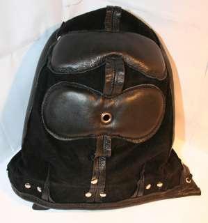 Heavy Duty Padded Locking Leather Hood, Mask, Blindfold