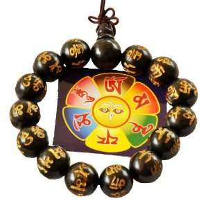 Tibetan Mantra Prayer Dark Wood Prayer Beads Wrist Mala