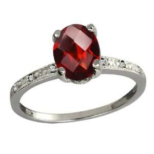 44 Ct Checkerboard Red Garnet and White Diamond Argentium Silver