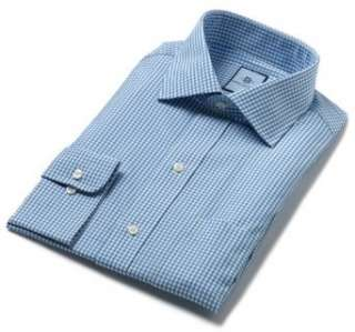 Mens Colby Spread Collar Mens Dress Shirt, Blue Gingham Clothing