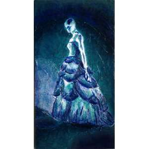Blue Green Marbled Bride in Wedding Dress. 16x30