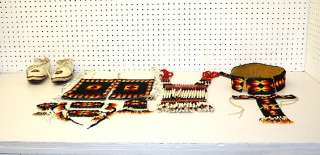 MATCHING 11 PIECE HAND CRAFTED BEADED NATIVE AMERICAN INDIAN DANCE SET