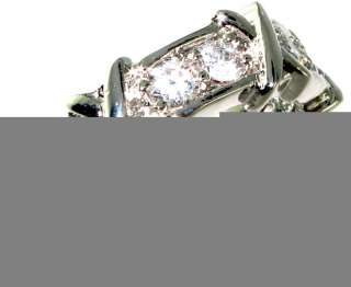 Latest collection Friendship style! White topaz.925 Silver Ring size 6
